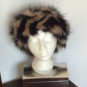 Leather hat with fur trim